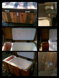 Cooler Chest w/ removable storage tote,  magnetic bottle opener, drain spout: 95% reclaimed materials