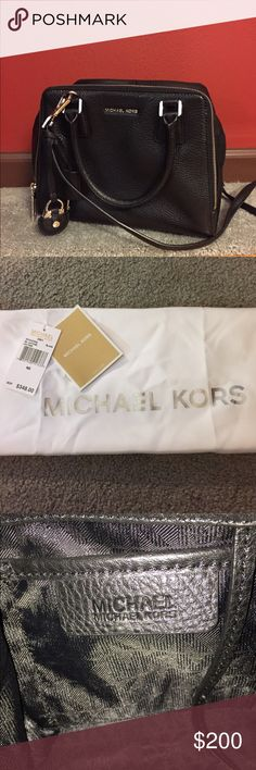 "Michael Kors Zoey Leather Bag EUC.  Dust Bag included.  MSRP $348.  Bought on Posh for $250.  Used a few months.  Loved the soft leather, but a little too big for me.  W 8 1/2"" x H 6 1/2"" x D 2 1/2"".  Black leather with silver rhodium hardware.  Zipper compartment on exterior, top zip closure.  Adjustable strap with 20-22"" drop.  Interior has zipper compartment, 5 card slots and 1 open pocket. Michael Kors Bags"