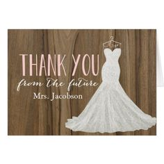 Rustic Wedding Thank You Cards Modern Wedding Dress | Bridal Shower Thank You Card