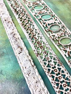 Distressed Metal Ribbon Trim, Embossed Tin Metal Embellishments with Shabby Chic Chippy White Vintag Patina Metal, Rusty Metal, Metal Trim, Galvanized Metal, Zinc Table, Shabby Chic Dining Room, Metal Embossing, Tin Walls, Steampunk Gears