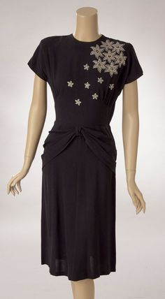 Black Silk Crepe Dress with Rhinestone and Studded Bodice Decor, 1940s