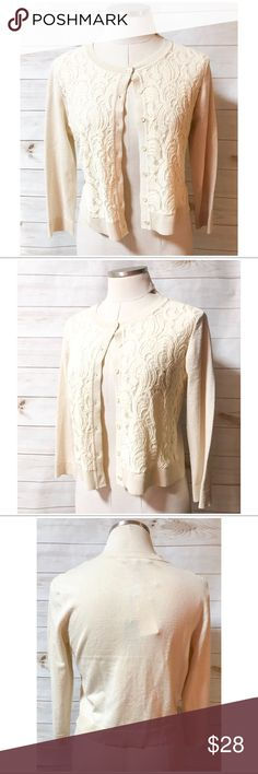 🆕CABLE & GUAGE LACE SWEATER CABLE & GUAGE LACE SWEATER ~ Pretty detail make this sweater perfect for any occasion Add to a dress or dress it down with jeans ~ Grain color ~ Button closure ~ Long Sleeves ~ Body: 78% Rayon/22% Polyester-Lace: 46% Nylon/42% Cotton/12% Rayon #1000 🚫Trades or Holds ✅Use offer option Cable & Gauge Tops