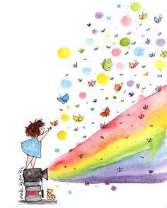 Cute Illustration, Watercolor Illustration, Watercolor Paintings, Watercolor Beginner, V Instagram, Art For Art Sake, Doodle Art, Cute Wallpapers, Cute Art