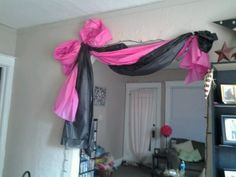 Image result for drape a doorway with plastic table cloth