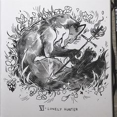 #inktober 6 - Lonely Hunter  Vulpecula (the fox) constellation doesn't have many friends so he's completely devoted to the Sagittarius archer ♐️ #celestialatlas