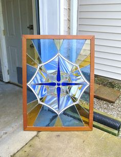 Antique Stained Stain Glass Window Panel Pane Arts and Crafts Mission Art Deco Faceted Cobalt Slag Milk Amber Beveled Leaded Lead Abstract by PattysPorcelainEtc on Etsy https://www.etsy.com/listing/156039180/antique-stained-stain-glass-window-panel