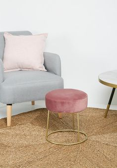 Framed ottoman - blush velvet Sixth Floor Chairs | Superbalist.com Vanity Bench, Floor Chair, Ottoman, Stool, Rest, Blush, Chairs, Velvet, Flooring