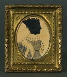 "Part of a pair of 19th-century hollow-cut silhouettes showing a woman and gentleman on black silk, with watercolor bodies, in gilt repousse frames, both attributed to the so-called ""Dash Artist"" (Fertig Collection, all images courtesy Willis Henry Auctions)"