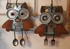 "The two owls are from repurposed graters, buttons & rusty things. I guess that makes them ""Grate Horned Owls"""