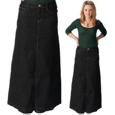 Long Denim Skirt. Fashionable button front maxi denim skirt ...