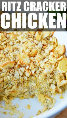 Chicken casserole with ritz crackers is a 10 minute prep casserole dish that is such an easy recipe! With pre-cooked chicken, this dish takes only 10 minutes to prep and is a family favorite ritz chicken that everyone will want more of! Pre Cooked Chicken, Cooked Chicken Recipes, How To Cook Chicken, Cooking Recipes, Butter Chicken, Fun Cooking, Cooking Ideas, Crockpot Recipes, Ritz Cracker Chicken Casserole