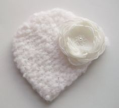 Hat Hand knitted Baby Newborn Girl Accessory, Clothing Vintage style Flower Snow White Handmade Gift Winter Christening, Wedding Birthday. £18.00, via Etsy.