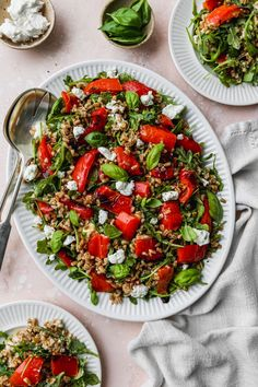 This easy roasted pepper salad recipe is made with farro, goat cheese, arugula, basil, and a simple white wine + lemon vinaigrette dressing. It can be enjoyed warm or cold, and served as either an entree style salad or as a side dish. Large Salad Bowl, Salad Bowls, Pasta Salad, Cobb Salad, Lemon Vinaigrette Dressing, How To Cook Farro, Roasted Peppers, Summer Salad Recipes