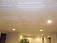 Basement Ceiling Choices Which Type-Drop Ceiling Tiles Basement Drop Ceiling Basement, Drop Ceiling Tiles, Dropped Ceiling, Ceiling Panels, Ceiling Lights, Ceiling Ideas, Acoustic Ceiling Tiles, Office Ceiling, Ceiling Murals