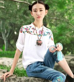 Chinese fashion women embroidered sleeve shirt lapel fifth