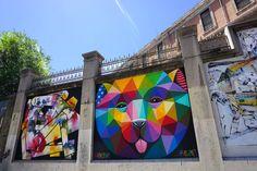 "Okuda. Proyecto ""Muros"".#ArteTabacalera Promoción del Arte #ArteUrbano #StreetArt #Madrid Arterecord 2016 https://twitter.com/arterecord"