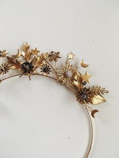 Demetre Crown by Mignonne Handmade Bridal Hair Accessories, Jewelry Accessories, Fashion Accessories, Celestial Wedding, Hair Jewelry, Jewellery, Hair Pieces, Headbands, Gold