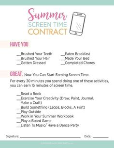 NO More Tech Zombies. Here's one mom's easy solution for how to tame too much summer screen time. A printable screen time contract is included. Zombies, Summer School, Summer Kids, Kids Summer Schedule, Summer Checklist, Kids Schedule Chart, Kids Routine Chart, Daily Schedule Kids, Free Summer
