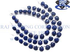 Lapis Lazuli Faceted Heart (Quality AAA) Shape: Heart Faceted Length: 18 cm Weight Approx: 9 to 11 Grms. Size Approx: 9 to 10 mm Price $16.40 Each Strand