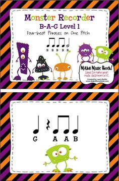 Make Music Rock!: Monster Recorder B-A-G. Introductory recorder activity. Beginning recorder players will benefit from this fun way to practice reading rhythms while focusing on playing with proper tone and articulation.