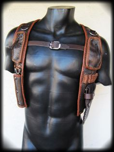 Leather Gun Holster with Pouches. $275.00, via Etsy.
