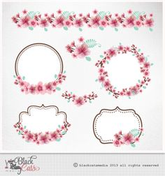 Cherry Blossoms Clipart Cherry frames Lace by BlackCatsMedia