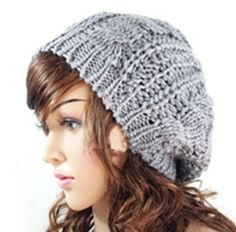 New Winter Women Lady Winter Warm Knitted Hat Crochet Slouch Baggy Beret Beanie Cap Women Autumn Bone Bonnet Gorro Knitted Hats, Crochet Hats, Knit Crochet, Crochet Beanie, Double Crochet, Free Crochet, Crochet Pattern, Mens Beanie Hats, Grey Beanie