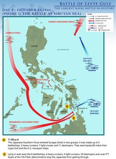 Top Eleven Infographics of the Biggest Naval Battle in History: The Battle of Leyte Gulf Naval History, Military History, World History, World War Ii, Ww2 Facts, Leyte, Teaching History, Modern Warfare, Past Life