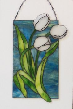White Tulips // Stained GLass PaneL // Large by LanieMarieDesigns