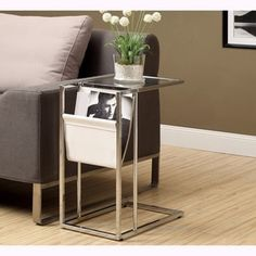 White and Chrome Metal Accent Table and Magazine Holder - Free Shipping Today - Overstock.com - 15605915 - Mobile