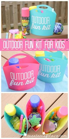 Outdoor Fun Kits to keep the kids busy this summer! A whole basket full of fun ideas and activities for kids.