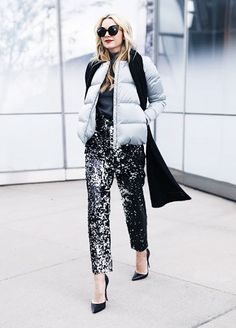 Going out this NYE but want to stay warm? We suggest taking a tip from Blair Eadie and popping a puffer over party pants.