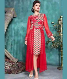 Shop Red Net Designer Readymade Kurti 71389 online at best price from vast collection of designer kurti at Indianclothstore.com.