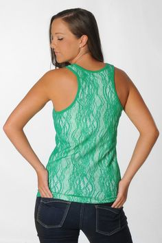 f70c25a5546 Marshall University Kelly Green Floral Lace Tank - University Girls Apparel  ~ So cute! And