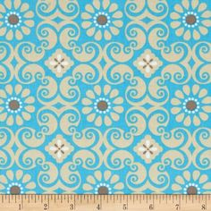 Bright Now Floral Blue/Tan from @fabricdotcom  Designed by Jackie Studios for Camelot Fabrics, this cotton print fabric is perfect for quilting, apparel and home decor accents. Colors include brown, tan, white and blue.