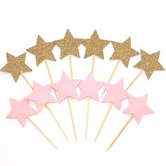12 Star Cupcake Toppers - Cake Picks - Pink and Gold Glitter Stars