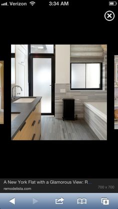 Modern angular bath with opaque glass door