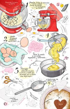 Cartoon Cooking: Like a cotton cloud. Almond cake, ace of hearts. The Effective Pictures We Offer You About Food Book for kids A quality picture can tell you many things. You can find the most beautif Food Drawing Easy, Food Illustrations, Illustration Art, Recipe Drawing, Illustrator, Sketch Note, Watercolor Food, Food Painting, Food Journal