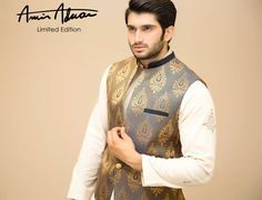 Amir Adnan Men Ceremony Kurtas Waist Coat Collection consists of stylish & fancy wedding formal menswear embroidered kurtas, classic waist coats Pakistani Mens Kurta, Mens Sherwani, Kurta Men, Wedding Sherwani, Pakistani Dresses, Nehru Jacket For Men, Waistcoat Men, Wedding Men, Wedding Suits