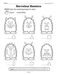 Basic shapes and counting—monster style. Perfect for fall. A freebie from…
