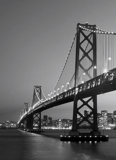 Brewster Home Fashions Ideal Décor San Francisco Skyline Wall Mural Black And White Picture Wall, Black And White Wallpaper, Black N White, Black And White Pictures, Grey Pictures, Night Pictures, Wall Pictures, Wallpaper Pictures, Gray Aesthetic