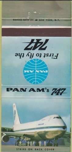 Pan Am 747 Service 1960's #matchbook To design & order your business' advertising #matches GoTo GetMatches.com