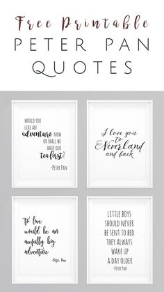 Peter Pan movie quotes FREE Printables - Set of 4 - perfect wall art for nursery. Peter Pan movie quotes FREE Printables - Set of 4 - perfect wall a Peter Pan Nursery, Peter Pan Bedroom, Peter Pan Party, Peter Pan Wedding, Lettering, Disney Quotes, Wall Art Sets, Baby Boy Nurseries, My New Room