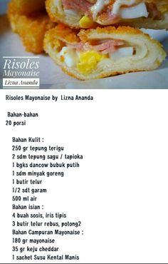 Risoles Mayonaise Indonesian Desserts, Indonesian Cuisine, Asian Desserts, Savory Snacks, Snack Recipes, Dessert Recipes, Cooking Recipes, Malaysian Food, Unique Recipes
