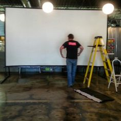 Big screen up at the FEAST showtimes TBA #abstract #local #art #film by @KWA_US