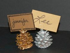 DIY pine cone place card holders... perfect for a fall themed for rustic wedding.