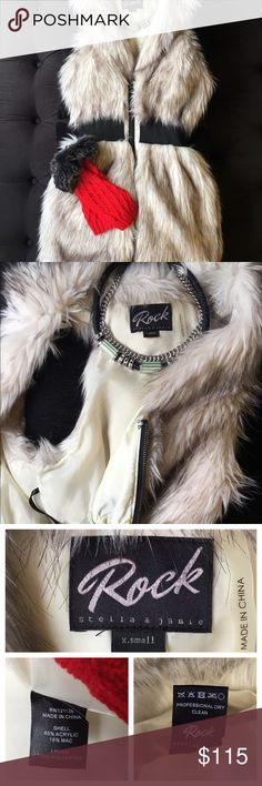 ROCK Stella and Jamie Faux Fur Vest Slay your day in this ROCK Stella and Jamie faux fur inspired long vest. Can be placed over a long sleeve or off the shoulder top and paired with some dark jeans OR placed over a mini skirt and top and left unzipped! Some of the fur-hairs rise up and need to be combed down and trained/stored to maintain their shape. Make me an offer if you'd like to see this piece in your closet! 💕 Rock Stella and Jamie Jackets & Coats Vests