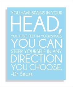 "Dr. Seuss Quote ""Brains"" Aqua Modern Art Print Typography Nursery wall decor, Kids Wall Art, Playroom or Classroom wall art-8x10. $12.00, via Etsy."