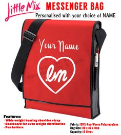 Personalised Little Mix Red/Black Vertical Messenger Bag Your name School   eBay