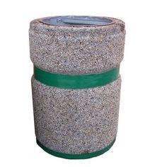 kosze betonowe, kosze na śmieci, kosze na smieci, mała architektura miejska, Kosz okrągły 40 litrów z pasem malowanym.